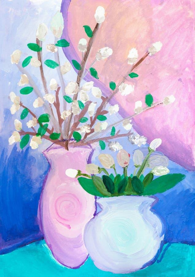 Dessin d'enfants Deux vases avec des fleurs illustration stock