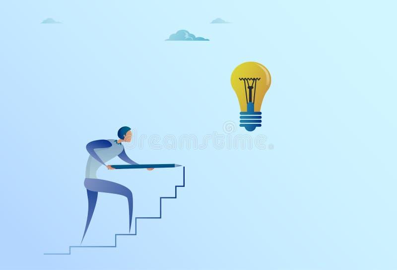 Dessin d'homme d'affaires sur des escaliers jusqu'à la nouvelle idée d'ampoule pour le concept de démarrage illustration libre de droits