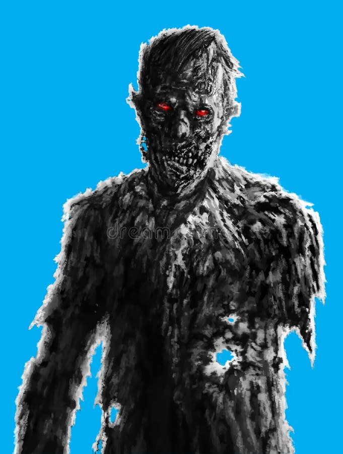 Dessin d'homme d'affaires de zombi sur le fond bleu Illustrati fantasmagorique illustration de vecteur