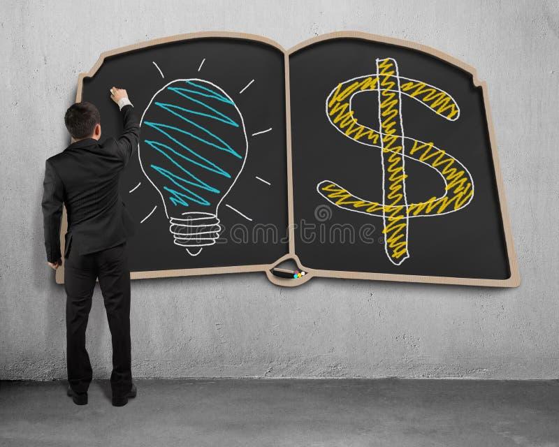 Dessin d'homme d'affaires sur le tableau noir de forme de livre illustration stock