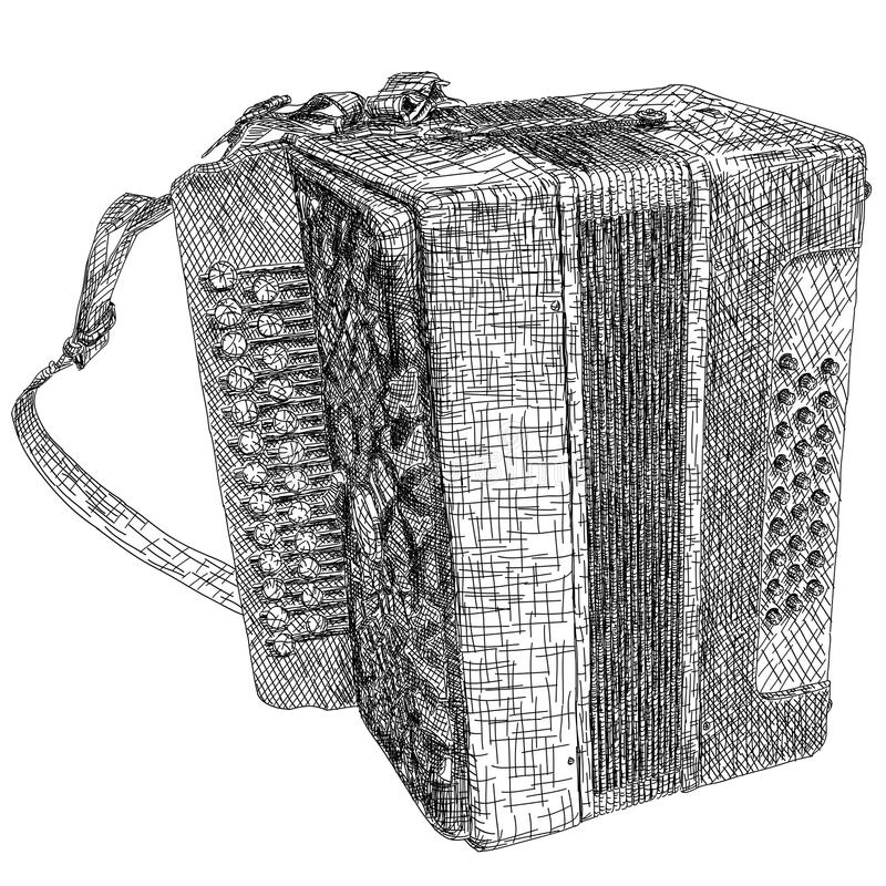 Dessin d'illustration de vecteur d'accordéon chromatique de deux-rangée illustration stock