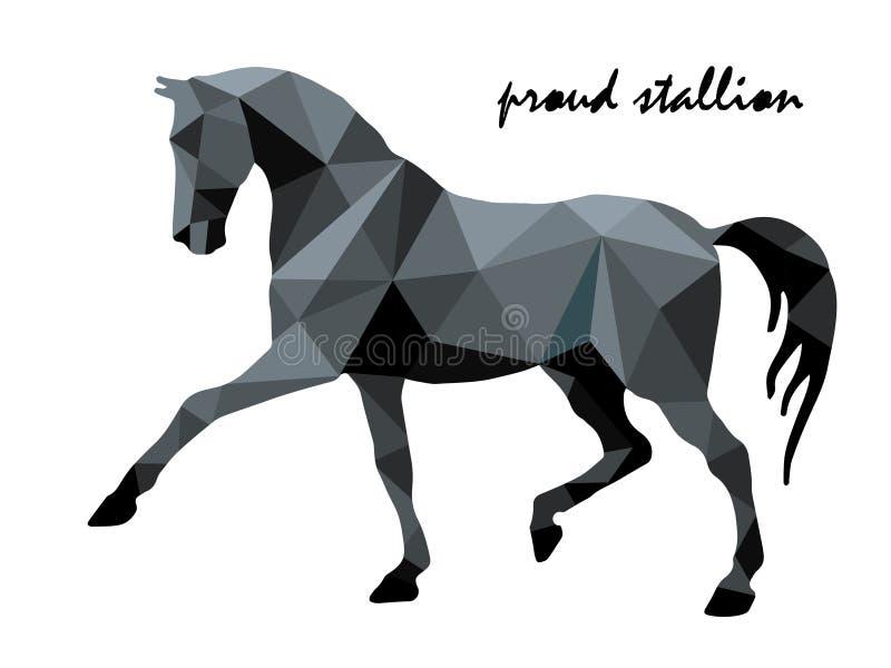Dessin d'isolement de cheval caracolant noir sur un fond et un lettrage blancs dans bas poly, tendance illustration de vecteur