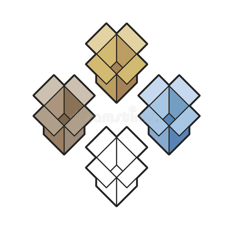 Dessin d'isolement de vecteur de variations de boîtes en carton illustration libre de droits