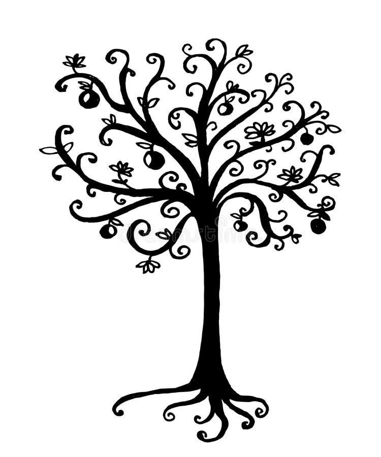 Dessin d 39 un arbre de conte de f es illustration tir e par - Dessins d arbre ...