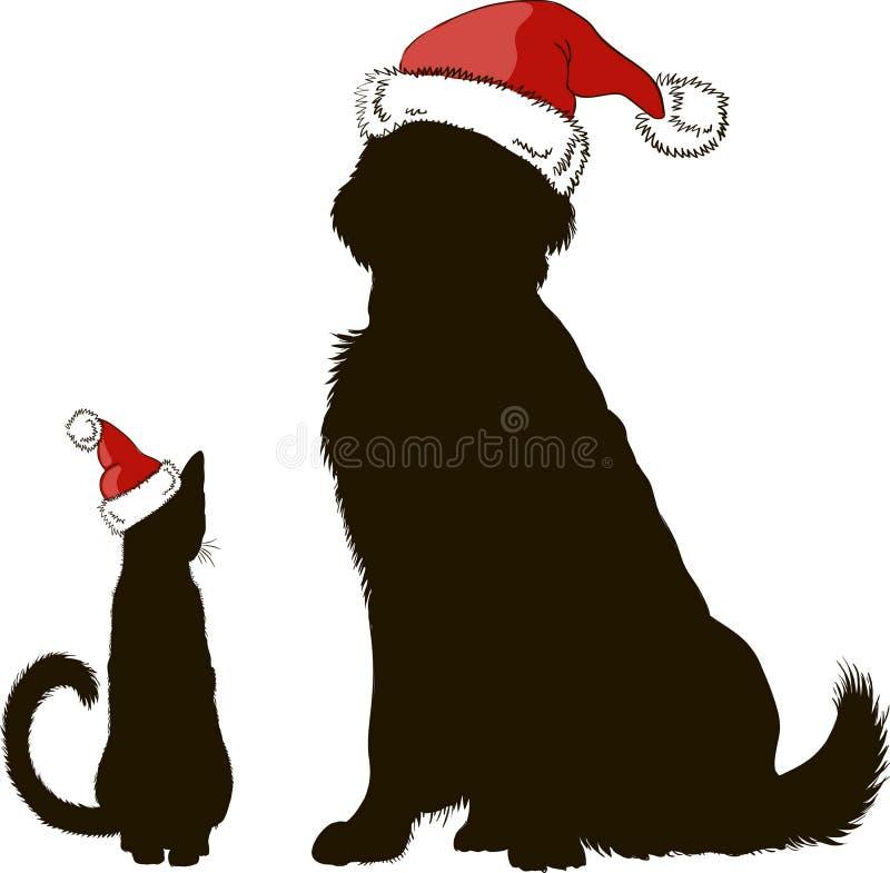 Dessin d 39 un chien et d 39 un chat en silhouettes de chapeaux - Dessin d un chien ...