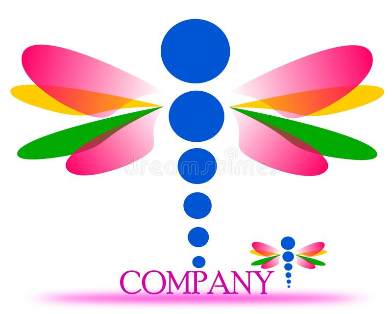 Dessin d'un logo de société de libellule illustration stock