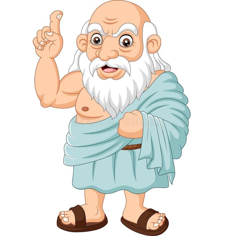 Dessin d'un philosophe grec ancien sur fond blanc illustration libre de droits