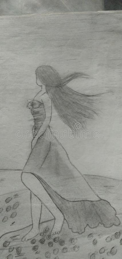 Dessin d'une femme qui tiennent la rivière de besid images libres de droits