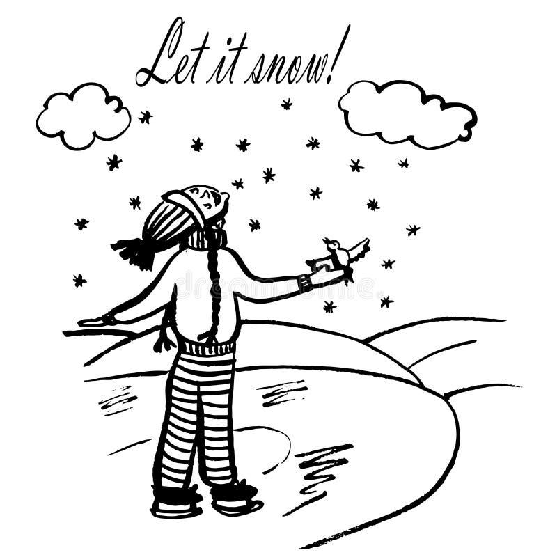 Dessin d'une fille sur des raies dans un chapeau drôle et avec des tresses mangeant la neige, ouvrant sa bouche, se tenant sur un illustration libre de droits