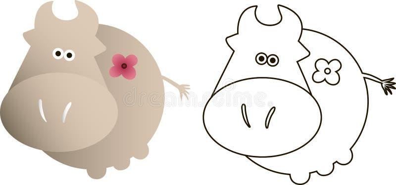 Dessin d'une vache à bande dessinée illustration stock