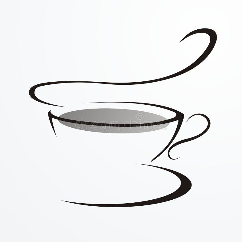 Dessin dans lines.cup de thé illustration stock