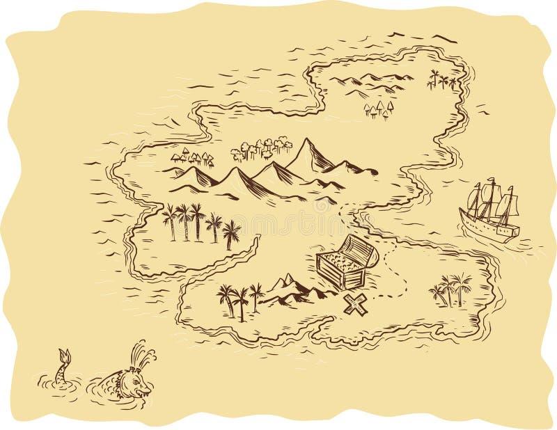 Dessin de bateau de navigation de carte de tr sor de pirate illustration de vecteur - Bateau a dessiner ...