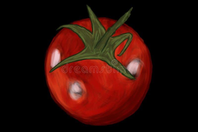 Dessin de brosse de tomate sur le fond noir illustration de vecteur