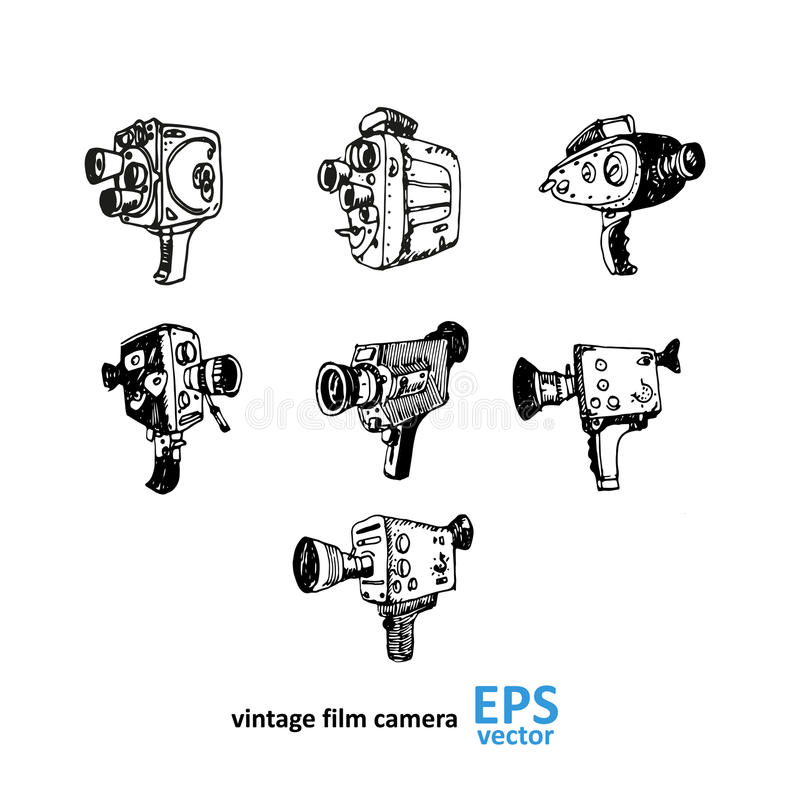 Dessin de caméra vidéo de vintage sur un fond blanc illustration libre de droits