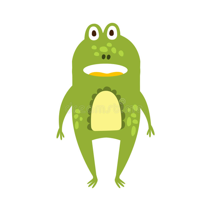 Dessin de caractère animal de revêtement de grenouille de bande dessinée de reptile amical plat debout de vert illustration libre de droits