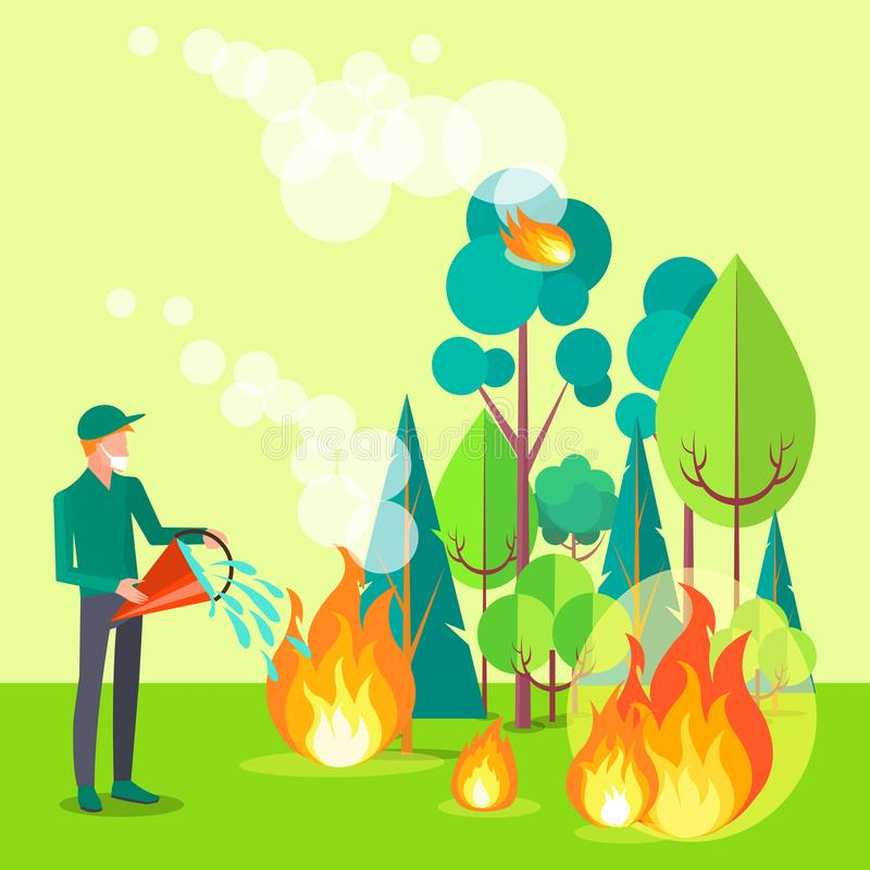 Dessin de civil essayant de s'éteindre le feu illustration stock