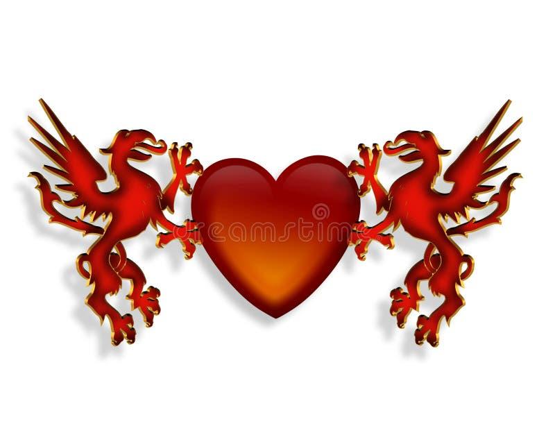 Dessin de coeur et de dragons 3D illustration libre de droits