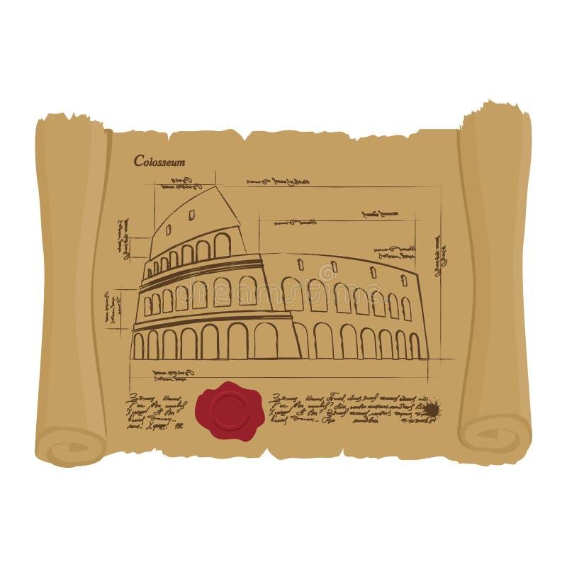 Dessin de Colosseum au rouleau antique Rétro plan d'antique illustration de vecteur