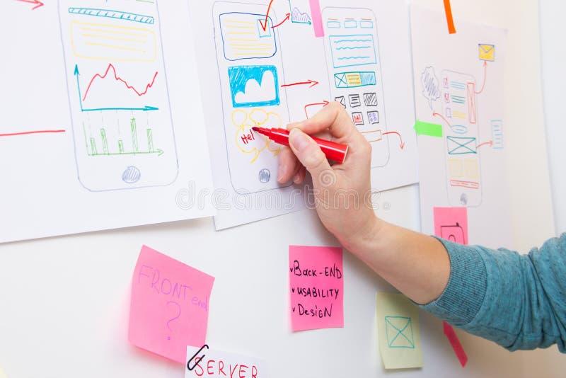 Dessin de concepteur d'Ui sur la structure de papier de l'appli images stock
