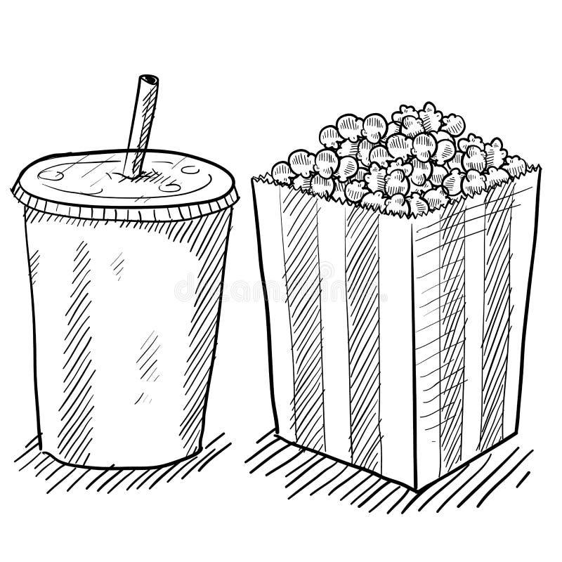 Dessin de concessions de film illustration de vecteur
