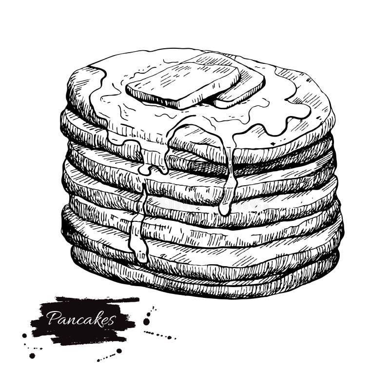 Dessin de crêpe de vintage de vecteur Illus monochrome tiré par la main de nourriture illustration libre de droits