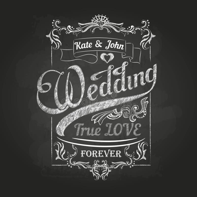 Dessin de craie Décorations de mariage illustration de vecteur