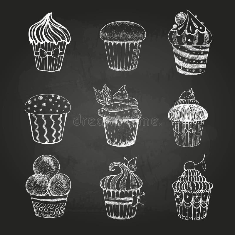 Dessin de craie Ensemble de gâteaux illustration libre de droits