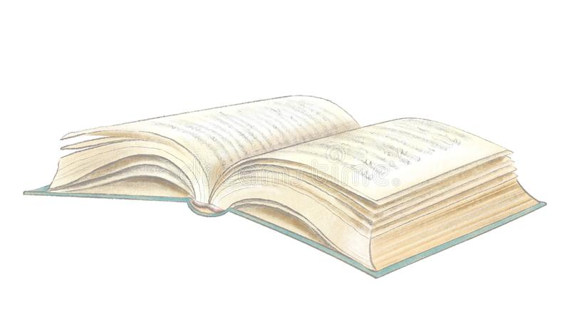 Dessin de crayon et d'aquarelle avec le livre menteur ouvert illustration de vecteur
