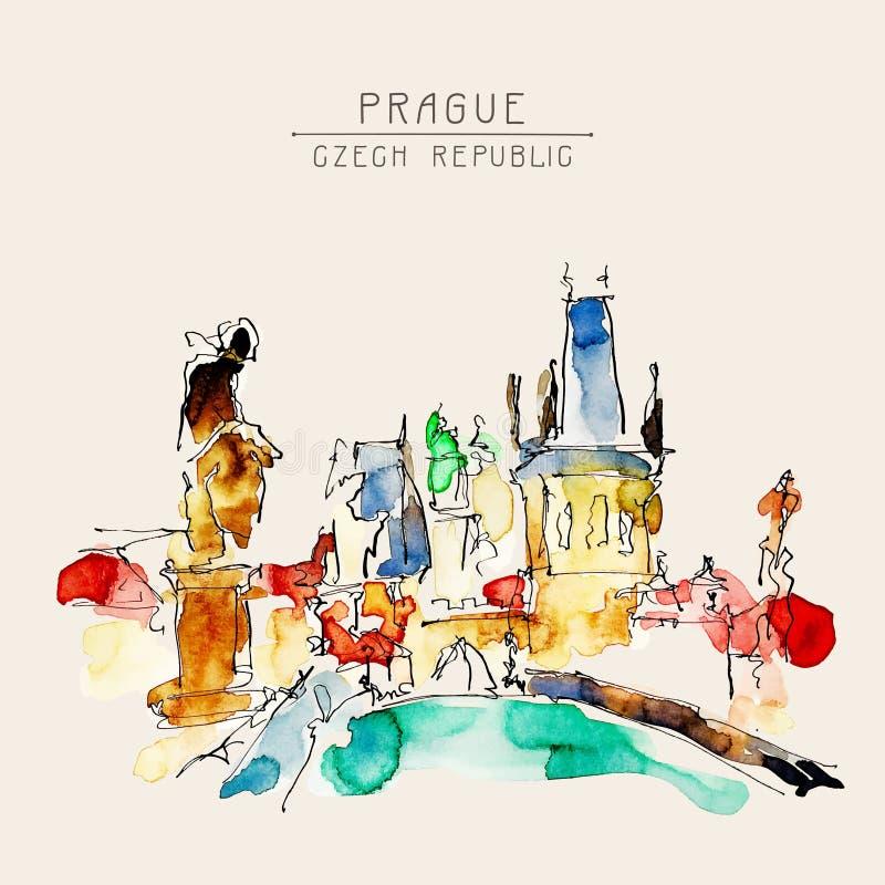 Dessin de croquis à main levée d'aquarelle de dessus de République Tchèque de Prague illustration stock