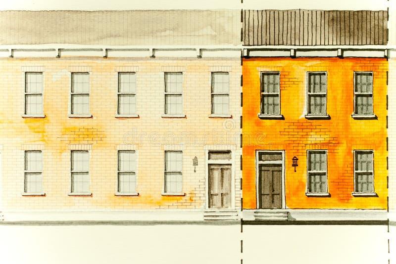 Dessin de croquis architectural d'altitude orange du logement de bloc avec des toits, des fenêtres, des portes d'entrée et des te illustration stock