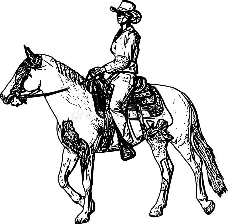 Dessin de croquis de cheval d'équitation de cow-girl illustration de vecteur