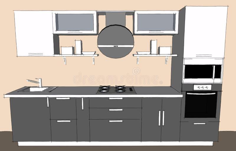 dessin de croquis d 39 int rieur moderne gris de la cuisine 3d avec les portes rondes de capot et. Black Bedroom Furniture Sets. Home Design Ideas