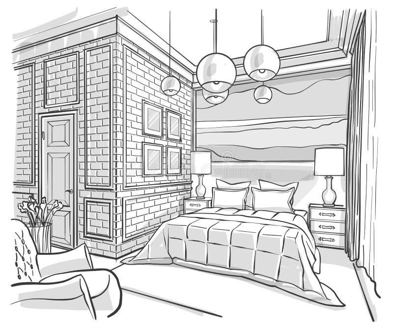 dessin de croquis int rieur de vecteur d 39 ensemble de chambre coucher illustration de vecteur. Black Bedroom Furniture Sets. Home Design Ideas