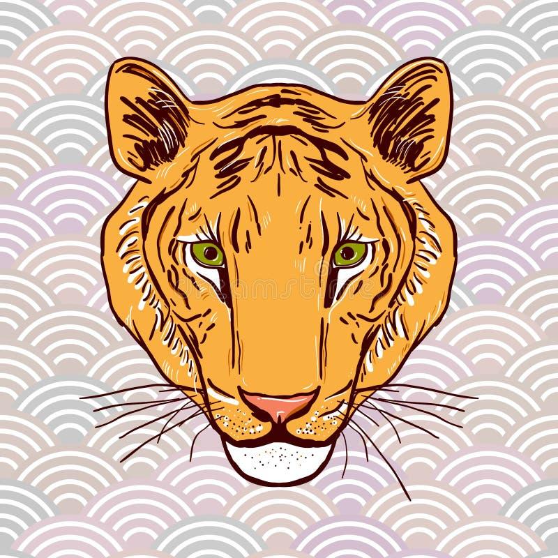 Dessin de croquis de tête de tigre dans les éléments ronds abstraits d'un fond gris ci asiatique de vague de nature simple orange illustration libre de droits
