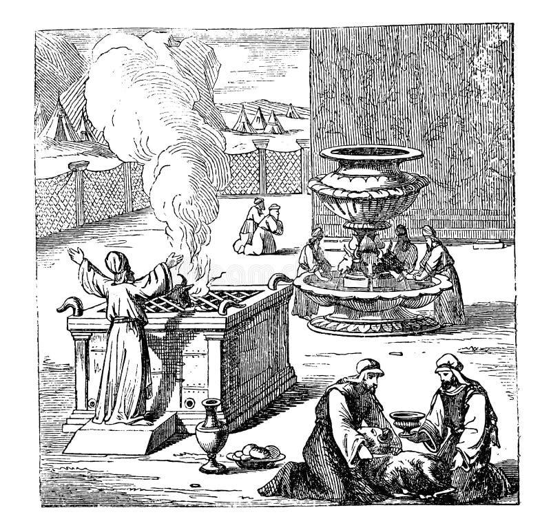Dessin de cru des israélites bibliques offrant ou sacrifiant à Dieu illustration stock
