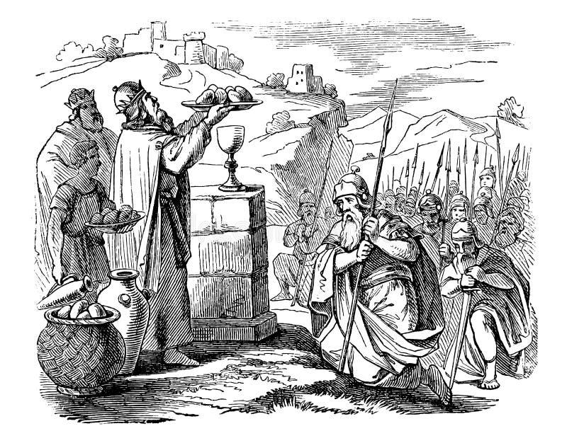 Dessin de cru de vieux prêtre de réunion de guerrier, histoire biblique au sujet d'Abraham et Melchizedek illustration libre de droits
