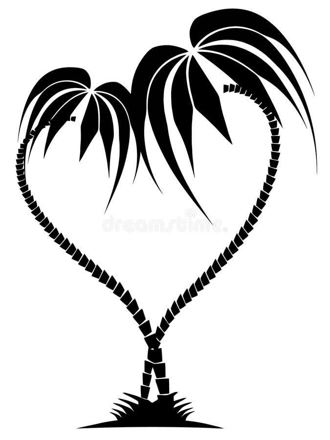 Dessin de deux palmiers sous forme de coeur illustration libre de droits