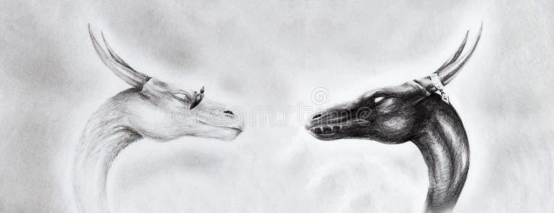 Dessin de deux têtes de dragon sur papier avec le fond abstrait illustration libre de droits