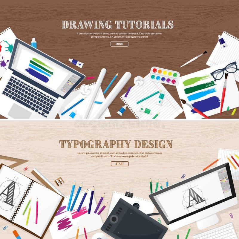 Dessin de Digital, conception graphique Lieu de travail, équipement pour le concepteur Ui De nouveau à l'école, étude pen illustration libre de droits