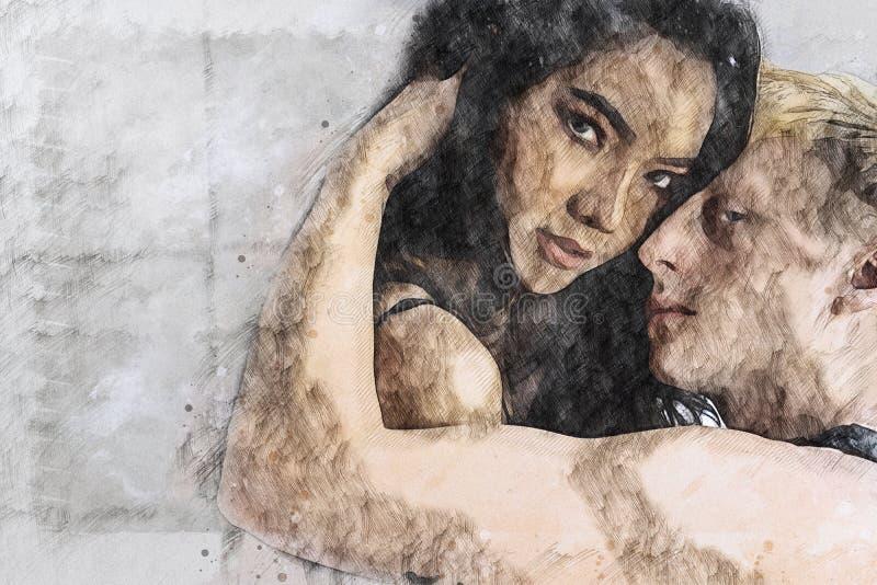 Dessin de Digital d'amant de couples dans le moment d'amour photographie stock