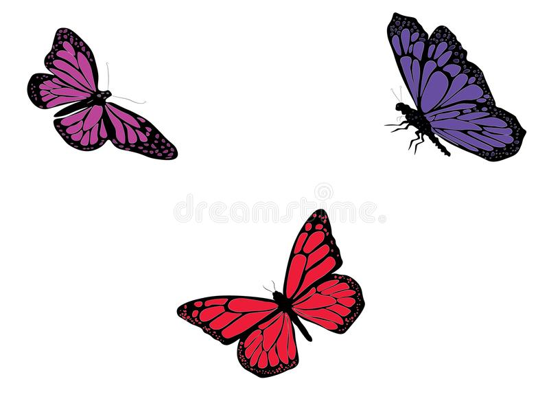 Dessin de Digital de trois papillons de couleur illustration libre de droits