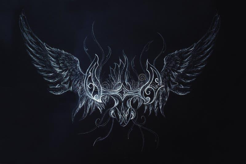 Dessin de dragon ornemental sur le fond noir illustration - Dessin fond noir ...
