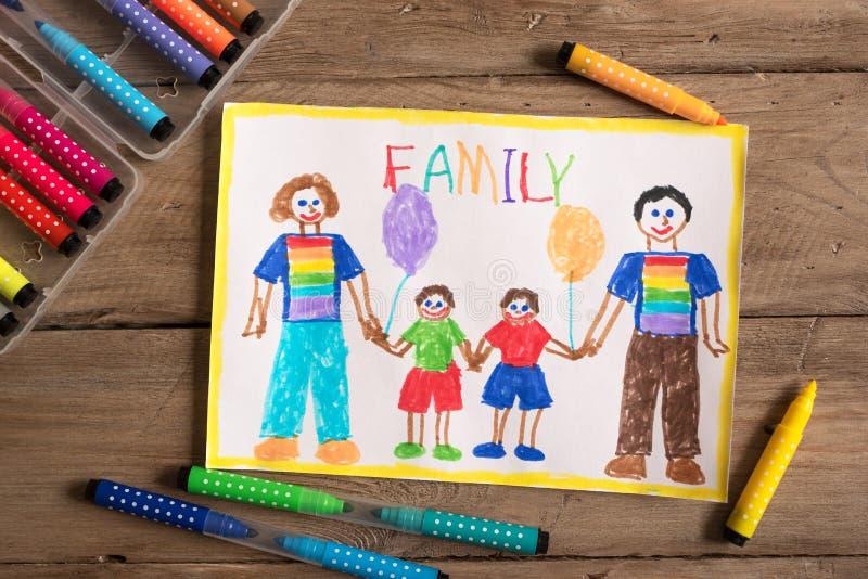 Dessin de famille de LGBT images stock
