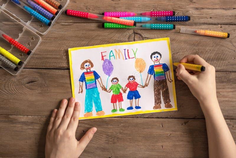 Dessin de famille de LGBT photographie stock
