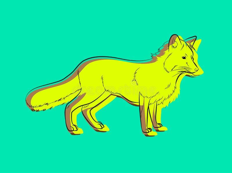 Dessin de Fox de bande dessinée rempli de vecteur de couleur illustration libre de droits