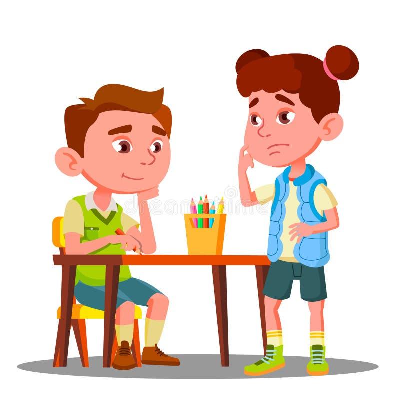 Dessin de garçon avec les crayons colorés et les supports offensés de fille à côté de lui vecteur Illustration d'isolement illustration libre de droits