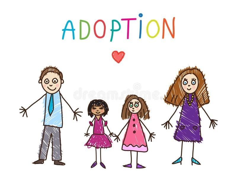 Dessin de gosses famille adoptive Illustration de vecteur illustration stock
