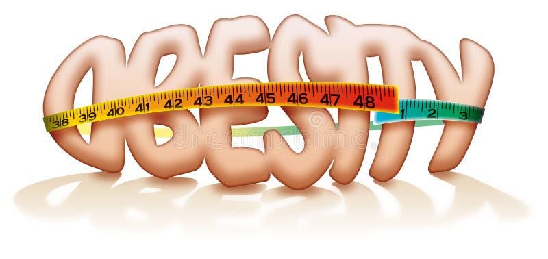 Dessin de graisse de mesure de bande d'obésité illustration stock