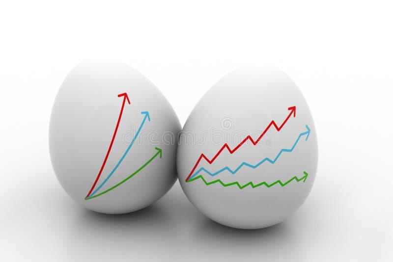 Dessin de graphique de croissance d'affaires en oeuf illustration de vecteur