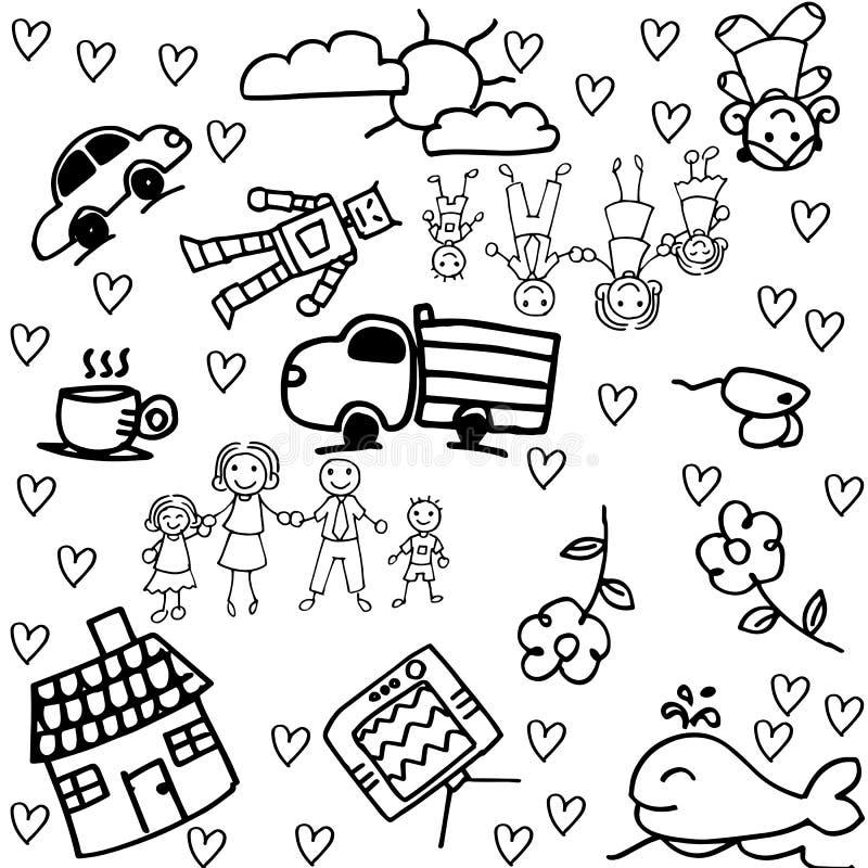 Dessin de griffonnage d 39 enfants d 39 un groupe de famille illustration de vecteur illustration du - Dessin groupe d enfants ...
